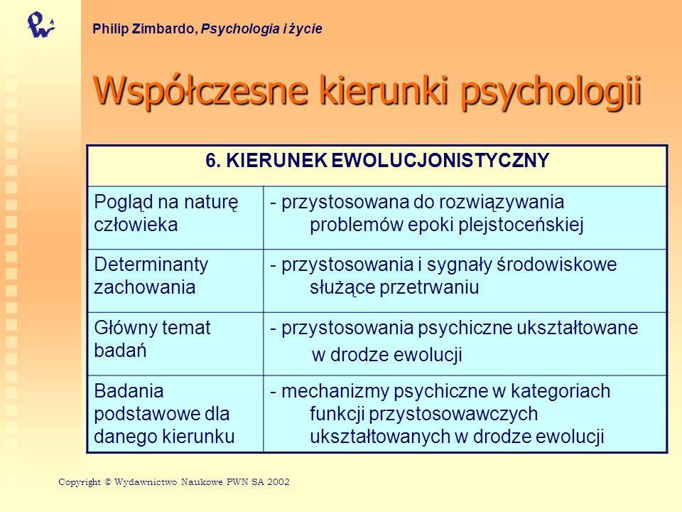 Współczesnekierunkipsychologii Współczesne kierunki psychologii Philip Zimbardo, Psychologia i życie 6.