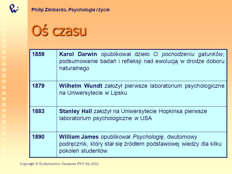 Ośczasu Oś czasu Philip Zimbardo, Psychologia i życie 1859Karol Darwin opublikował dzieło O pochodzeniu gatunków, podsumowanie badań i refleksji nad ewolucją w drodze doboru naturalnego 1879Wilhelm Wundt założył pierwsze laboratorium psychologiczne na Uniwersytecie w Lipsku 1883Stanley Hall założył na Uniwersytecie Hopkinsa pierwsze laboratorium psychologiczne w USA 1890William James opublikował Psychologię, dwutomowy podręcznik, który stał się źródłem podstawowej wiedzy dla kilku pokoleń studentów Copyri gh t © Wydawnictwo Naukowe PWN SA 2002