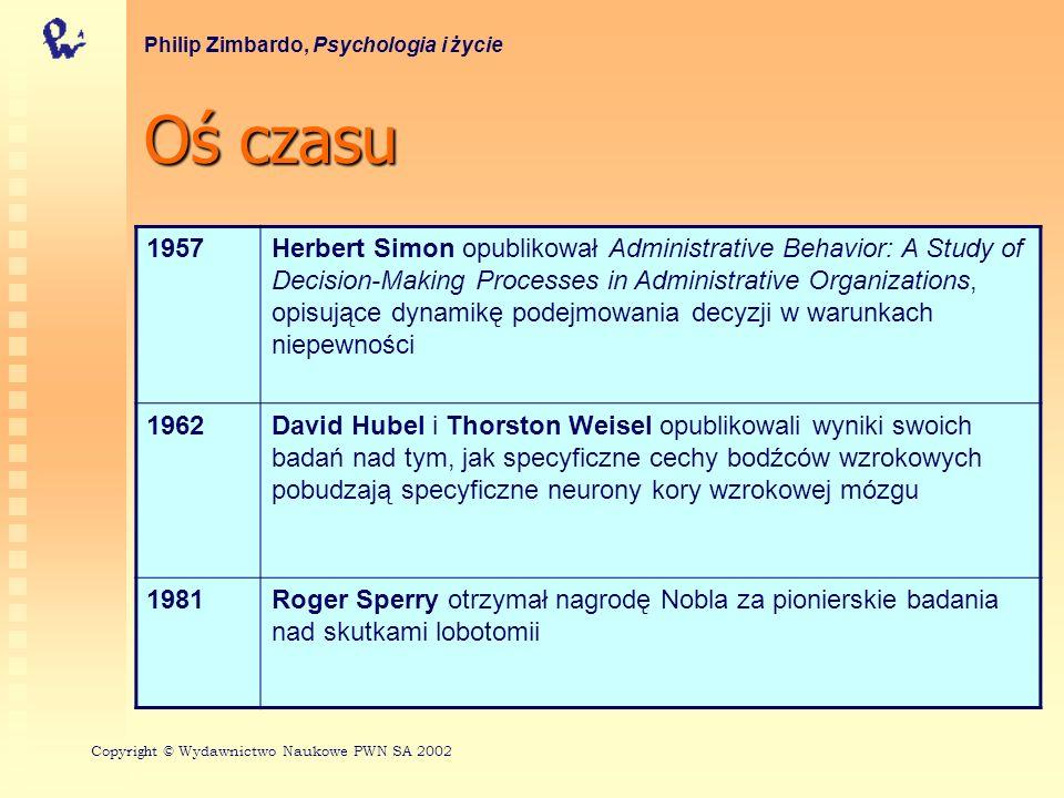 Ośczasu Oś czasu Philip Zimbardo, Psychologia i życie 1957Herbert Simon opublikował Administrative Behavior: A Study of Decision-Making Processes in Administrative Organizations, opisujące dynamikę podejmowania decyzji w warunkach niepewności 1962David Hubel i Thorston Weisel opublikowali wyniki swoich badań nad tym, jak specyficzne cechy bodźców wzrokowych pobudzają specyficzne neurony kory wzrokowej mózgu 1981Roger Sperry otrzymał nagrodę Nobla za pionierskie badania nad skutkami lobotomii Copyri gh t © Wydawnictwo Naukowe PWN SA 2002