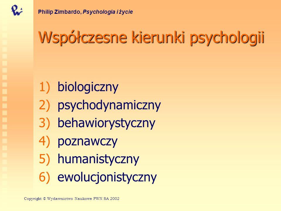 Współczesnekierunkipsychologii Współczesne kierunki psychologii 1) 1)biologiczny 2) 2)psychodynamiczny 3) 3)behawiorystyczny 4) 4)poznawczy 5) 5)humanistyczny 6) 6)ewolucjonistyczny Philip Zimbardo, Psychologia i życie Copyri gh t © Wydawnictwo Naukowe PWN SA 2002