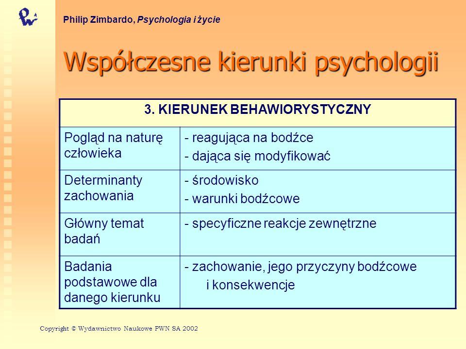 Współczesnekierunkipsychologii Współczesne kierunki psychologii Philip Zimbardo, Psychologia i życie 3.