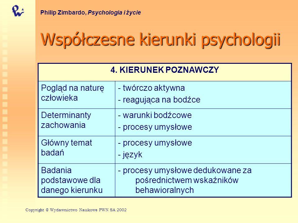 Współczesnekierunkipsychologii Współczesne kierunki psychologii Philip Zimbardo, Psychologia i życie 4.