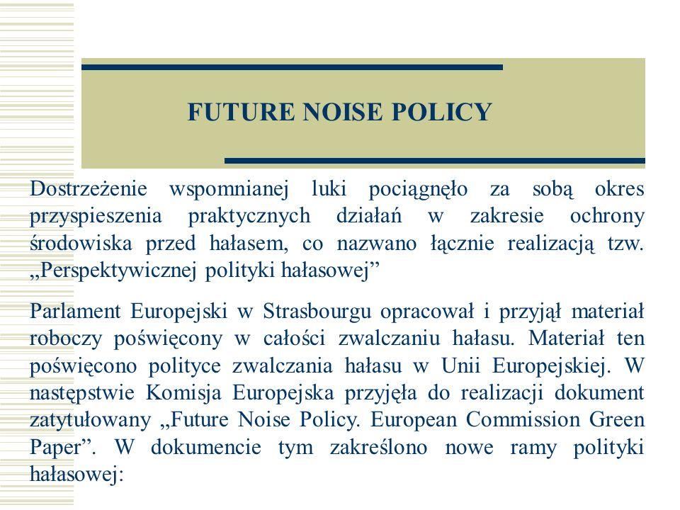 FUTURE NOISE POLICY...W świetle niewystarczających danych dotyczących ekspozycji na hałas oraz braków wykazanych przez analizę dotychczasowych środków, Komisja wyraża przekonanie, iż konieczne są zmiany w ogólnym podejściu, bez których to zmian polityka ograniczania hałasu nie może zakończyć się sukcesem.