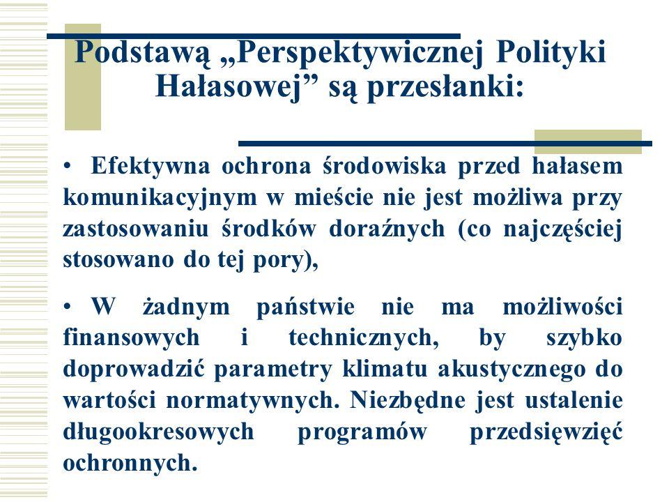 FUTURE NOISE POLICY - Cele CEL GŁÓWNY CELE OPERACYJNE WSPÓLNOTY EUROPEJSKIEJ DO ROKU 2000 KIERUNKI DZIAŁAŃ SEKTORY WYKONAWCY Żaden mieszkaniec UE nie powinien być narażony na hałas o poziomie zagrażającym zdrowiu lub jakości życia Cele odnoszą się do poziomów ekspozycji na hałas L Aeq w porze nocnej, która powinna spełniać warunki: Transport + przemysł ekspozycja populacji na hałas o poziomie powyżej 65 dB powinna zostać zlikwidowana; pod żadnym pozorem nie wolno dopuścić na ekspozycję na hałas o poziomie powyżej 85 dB - inwentaryzacja ekspozycji na hałas w krajach UE - opracowanie programu zwalczania hałasu - dalsze ograniczenie emisji hałasu (samochody, ciężarówki, samoloty, żurawie, kosiarki do trawy, itd.).