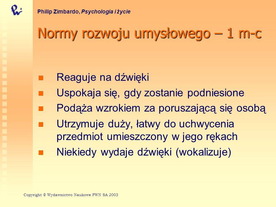 Normy rozwoju umysłowego – 1 m-c Philip Zimbardo, Psychologia i życie Reaguje na dźwięki Uspokaja się, gdy zostanie podniesione Podąża wzrokiem za poruszającą się osobą Utrzymuje duży, łatwy do uchwycenia przedmiot umieszczony w jego rękach Niekiedy wydaje dźwięki (wokalizuje) Copyright © Wydawnictwo Naukowe PWN SA 2003