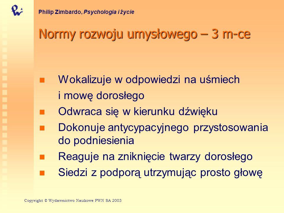 Normy rozwoju umysłowego – 3 m-ce Philip Zimbardo, Psychologia i życie Wokalizuje w odpowiedzi na uśmiech i mowę dorosłego Odwraca się w kierunku dźwi