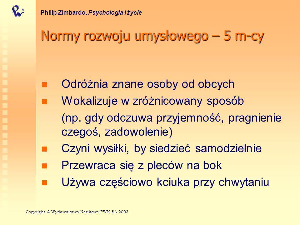 Normy rozwoju umysłowego – 5 m-cy Philip Zimbardo, Psychologia i życie Odróżnia znane osoby od obcych Wokalizuje w zróżnicowany sposób (np. gdy odczuw
