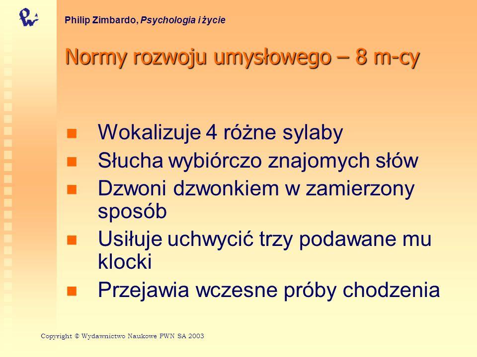 Normy rozwoju umysłowego – 8 m-cy Philip Zimbardo, Psychologia i życie Wokalizuje 4 różne sylaby Słucha wybiórczo znajomych słów Dzwoni dzwonkiem w za