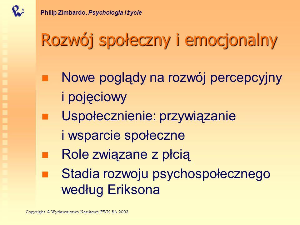 Rozwój społeczny i emocjonalny Philip Zimbardo, Psychologia i życie Nowe poglądy na rozwój percepcyjny i pojęciowy Uspołecznienie: przywiązanie i wspa