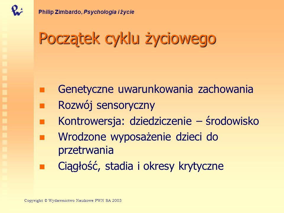 Początek cyklu życiowego Genetyczne uwarunkowania zachowania Rozwój sensoryczny Kontrowersja: dziedziczenie – środowisko Wrodzone wyposażenie dzieci d