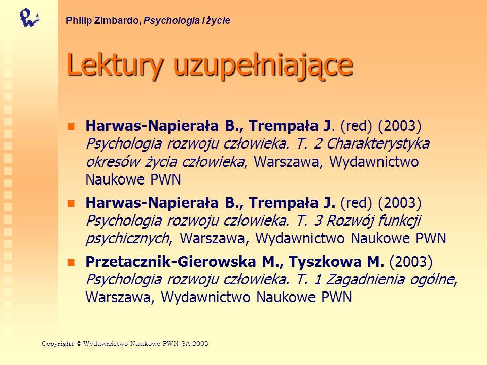 Lektury uzupełniające Harwas-Napierała B., Trempała J. (red) (2003) Psychologia rozwoju człowieka. T. 2 Charakterystyka okresów życia człowieka, Warsz
