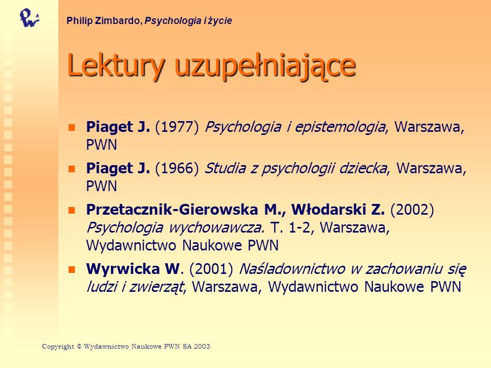 Lektury uzupełniające Piaget J. (1977) Psychologia i epistemologia, Warszawa, PWN Piaget J. (1966) Studia z psychologii dziecka, Warszawa, PWN Przetac