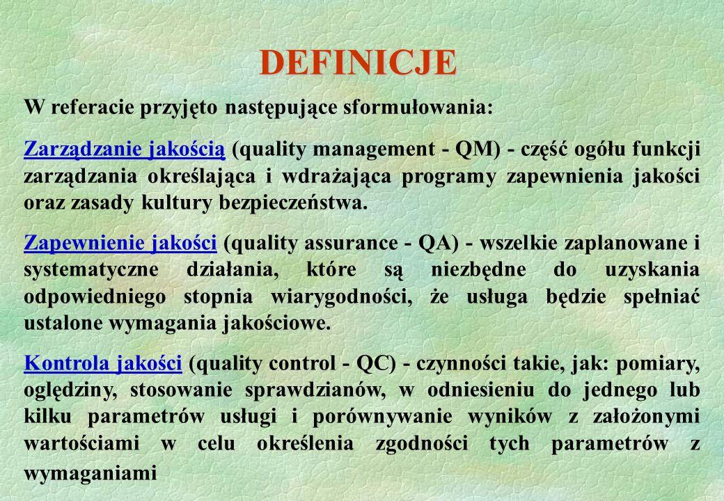 DEFINICJE W referacie przyjęto następujące sformułowania: Zarządzanie jakością (quality management - QM) - część ogółu funkcji zarządzania określająca