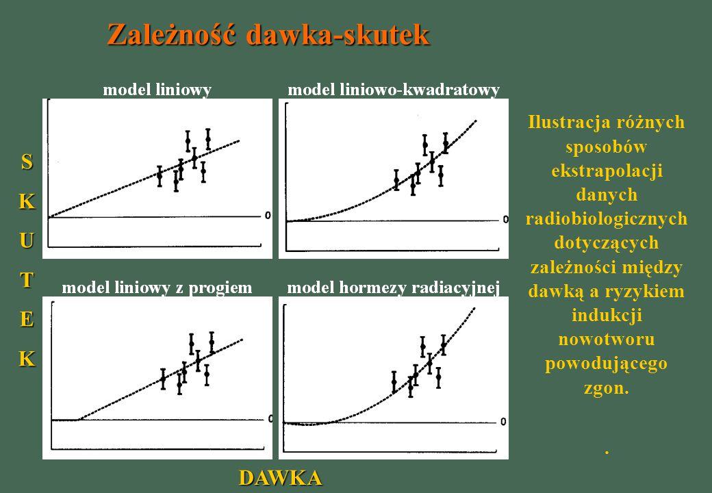 DAWKA SKUTEK Zależność dawka-skutek Ilustracja różnych sposobów ekstrapolacji danych radiobiologicznych dotyczących zależności między dawką a ryzykiem