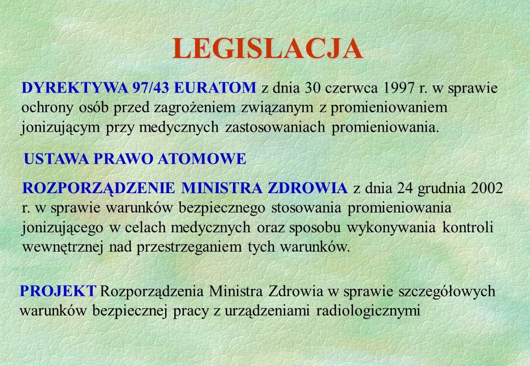 LEGISLACJA ROZPORZĄDZENIE MINISTRA ZDROWIA z dnia 24 grudnia 2002 r. w sprawie warunków bezpiecznego stosowania promieniowania jonizującego w celach m