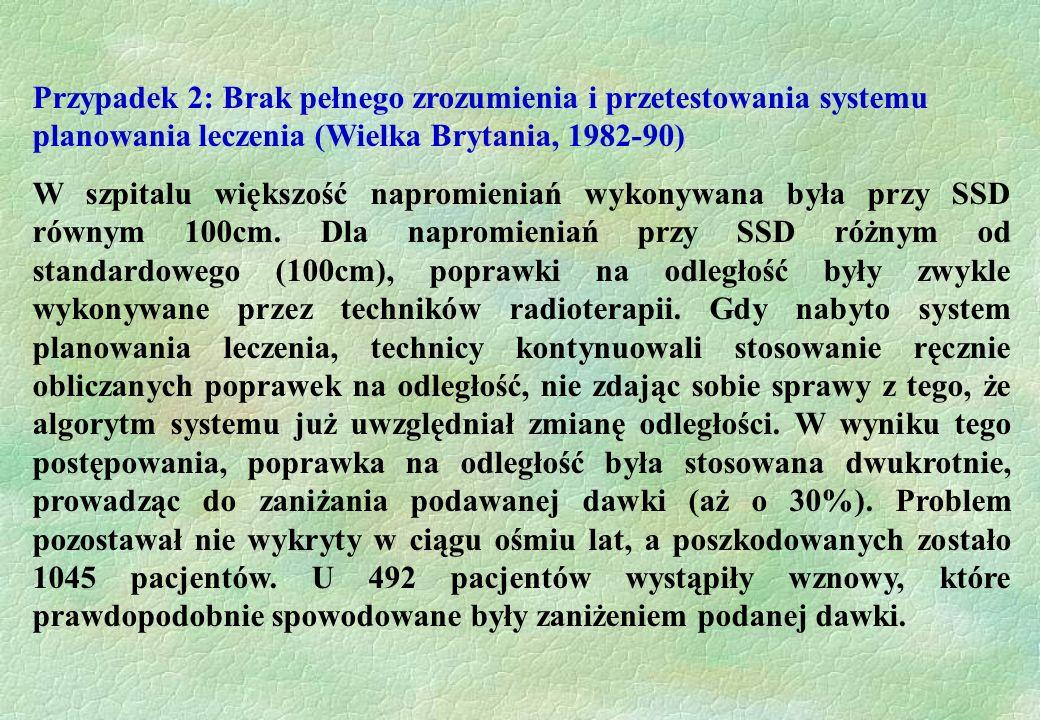 Przypadek 2: Brak pełnego zrozumienia i przetestowania systemu planowania leczenia (Wielka Brytania, 1982-90) W szpitalu większość napromieniań wykony