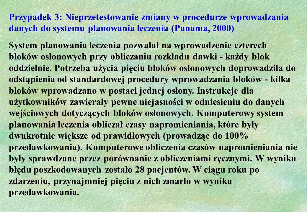 Przypadek 3: Nieprzetestowanie zmiany w procedurze wprowadzania danych do systemu planowania leczenia (Panama, 2000) System planowania leczenia pozwal