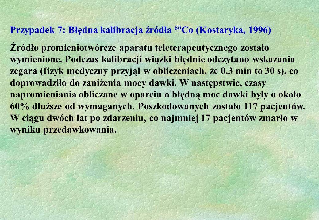Przypadek 7: Błędna kalibracja źródła 60 Co (Kostaryka, 1996) Źródło promieniotwórcze aparatu teleterapeutycznego zostało wymienione. Podczas kalibrac