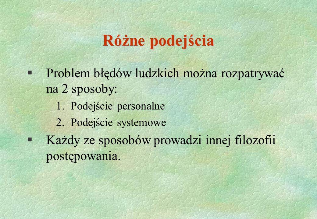 Różne podejścia §Problem błędów ludzkich można rozpatrywać na 2 sposoby: 1.Podejście personalne 2.Podejście systemowe §Każdy ze sposobów prowadzi inne