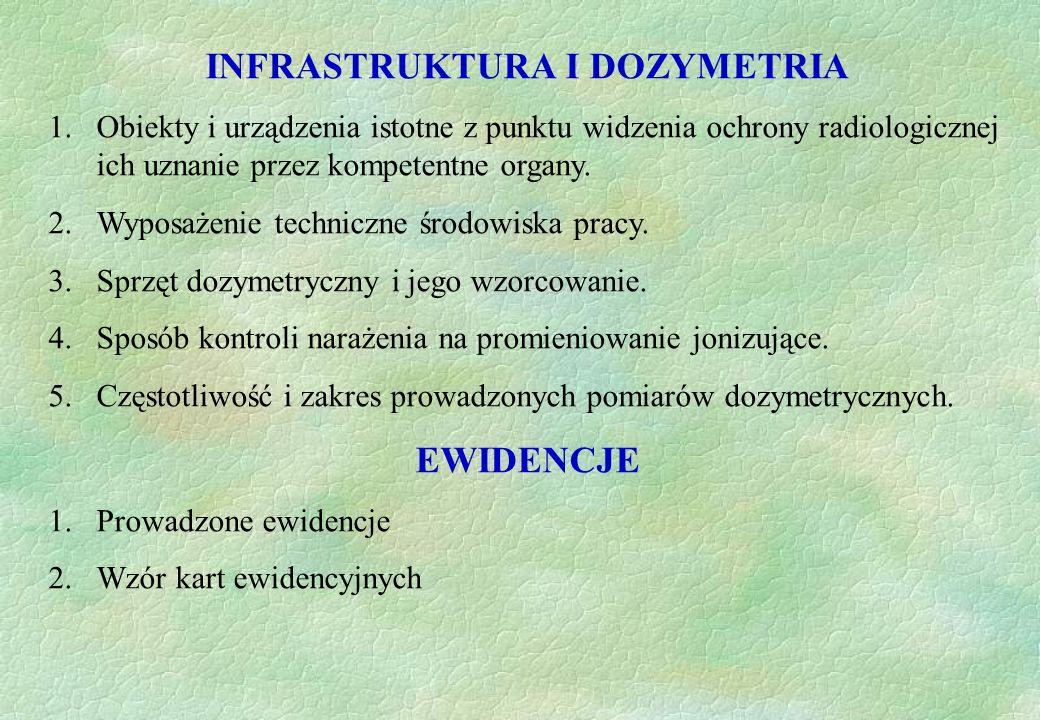 INFRASTRUKTURA I DOZYMETRIA 1.Obiekty i urządzenia istotne z punktu widzenia ochrony radiologicznej ich uznanie przez kompetentne organy. 2.Wyposażeni