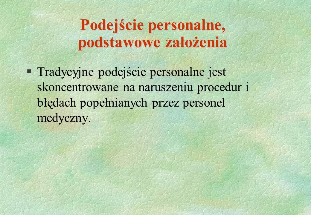 Podejście personalne, podstawowe założenia §Tradycyjne podejście personalne jest skoncentrowane na naruszeniu procedur i błędach popełnianych przez pe