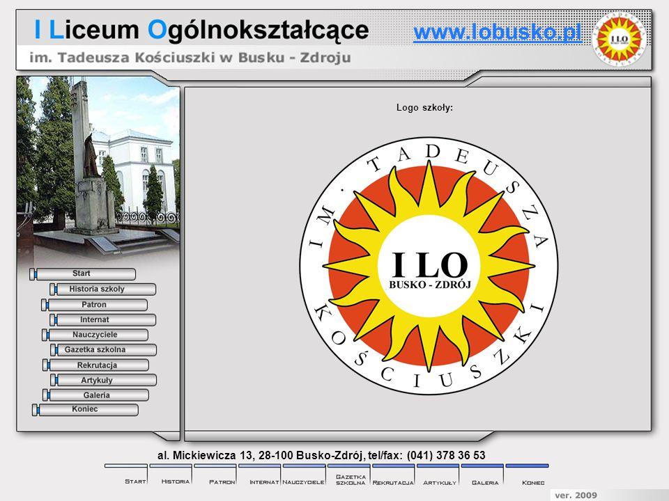 Logo szkoły: www.lobusko.pl al. Mickiewicza 13, 28-100 Busko-Zdrój, tel/fax: (041) 378 36 53