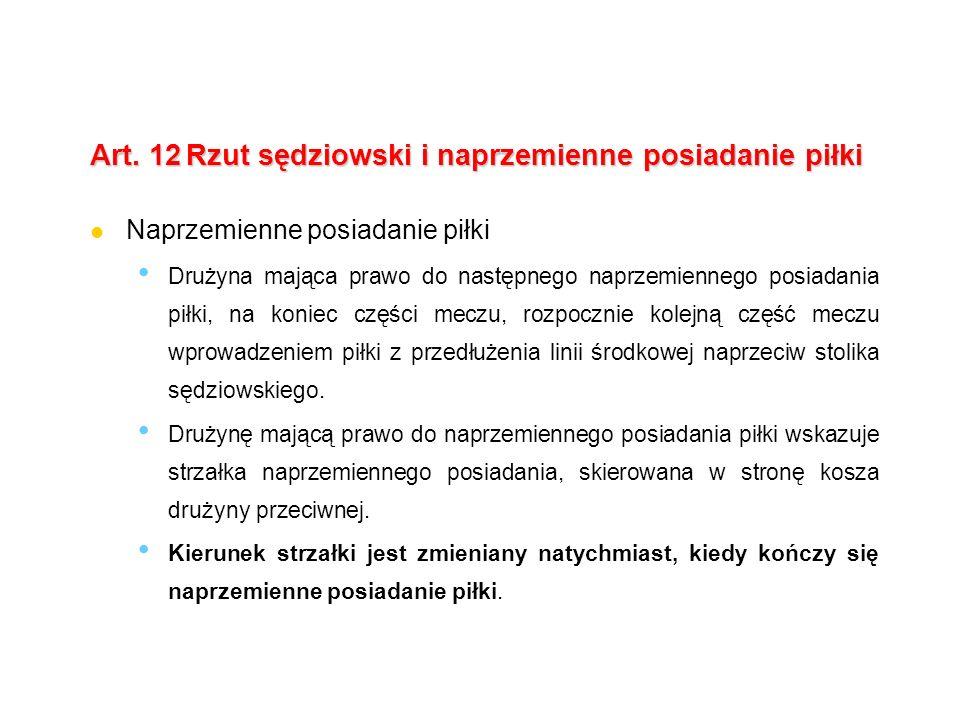 Art.12Rzut sędziowski i naprzemienne posiadanie piłki Rzut sędziowski: tylko na rozpoczęcie meczu.