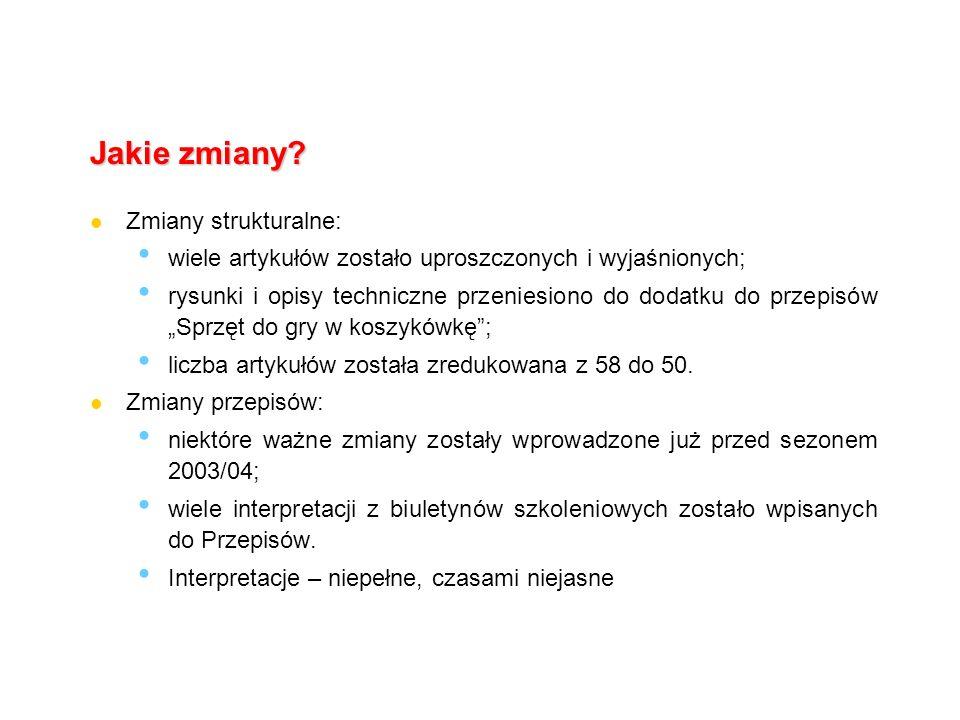 Komisja Szkoleniowa Kolegium Sędziów PZKOSZ przedstawia: Zmiany w przepisach gry 2004