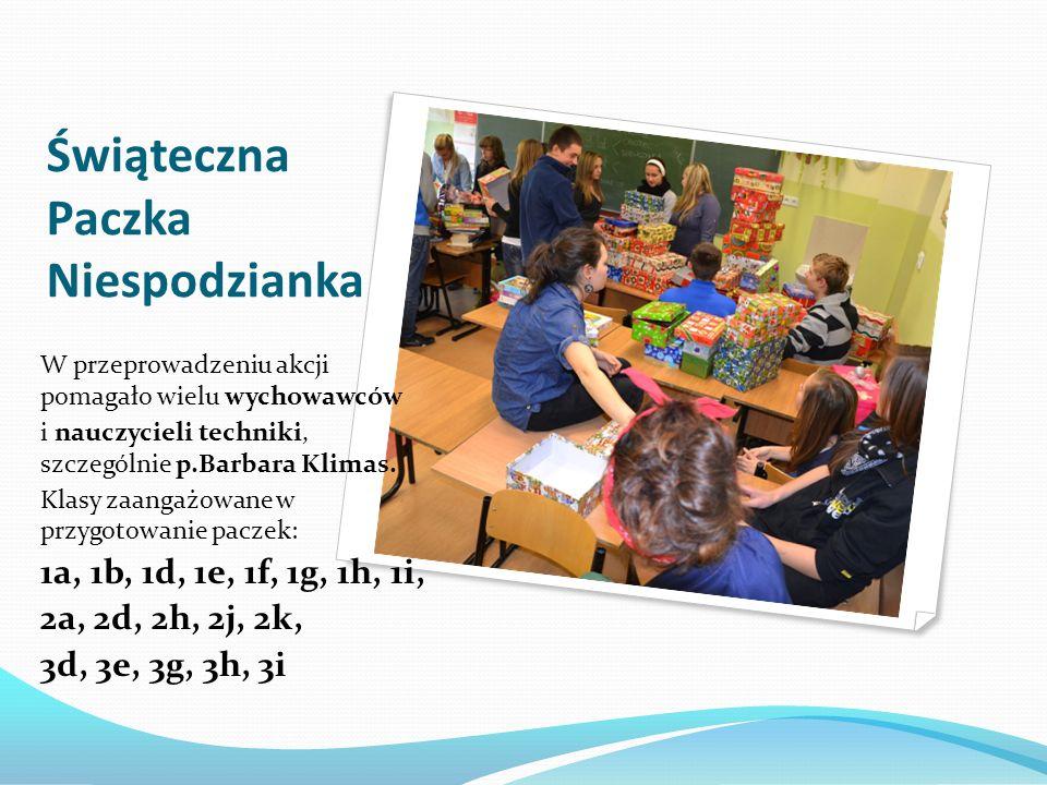 Świąteczna Paczka Niespodzianka W przeprowadzeniu akcji pomagało wielu wychowawców i nauczycieli techniki, szczególnie p.Barbara Klimas. Klasy zaangaż