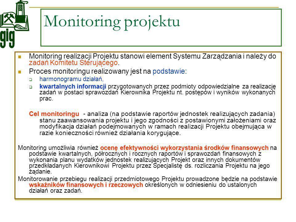 Monitoring projektu Monitoring realizacji Projektu stanowi element Systemu Zarządzania i należy do zadań Komitetu Sterującego. Proces monitoringu real