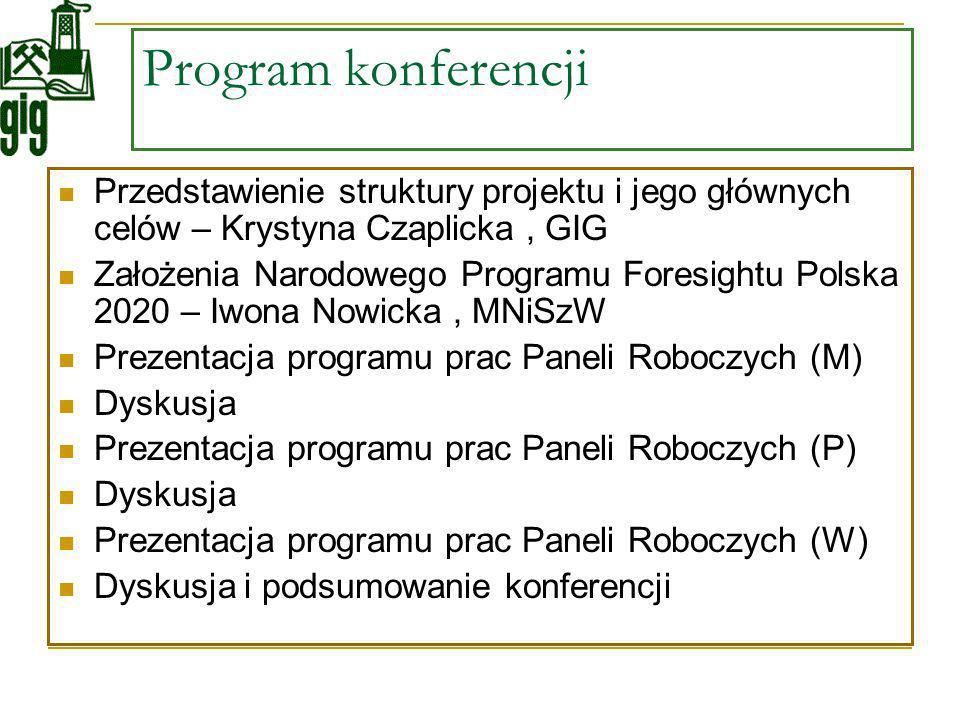 Program konferencji Przedstawienie struktury projektu i jego głównych celów – Krystyna Czaplicka, GIG Założenia Narodowego Programu Foresightu Polska