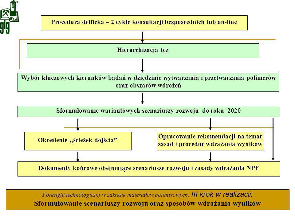 Hierarchizacja tez Procedura delficka – 2 cykle konsultacji bezpośrednich lub on-line Wybór kluczowych kierunków badań w dziedzinie wytwarzania i prze