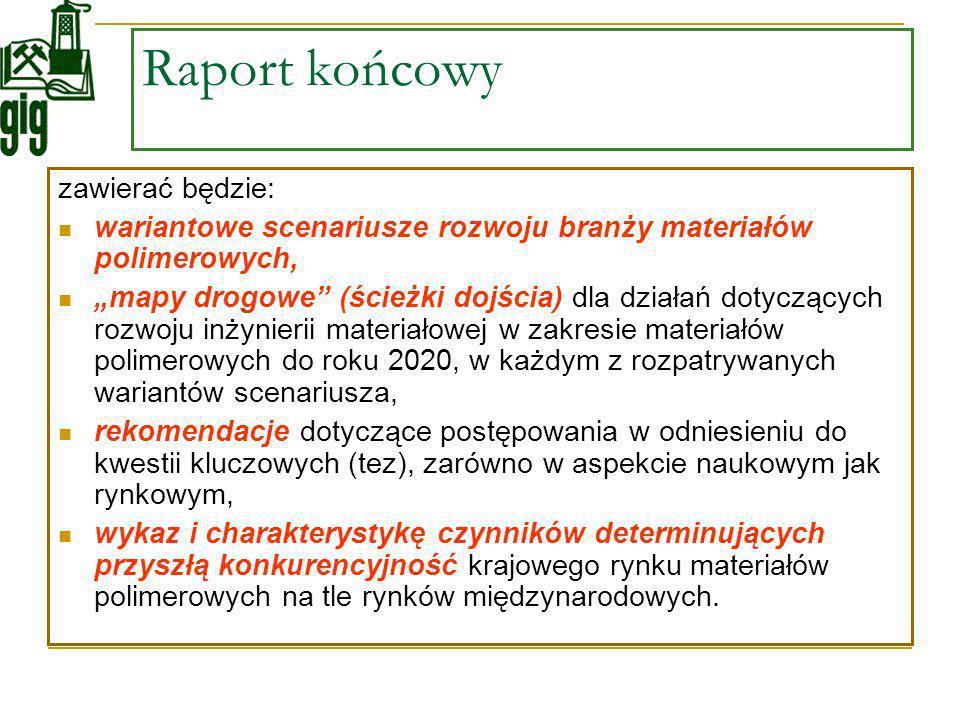 Raport końcowy zawierać będzie: wariantowe scenariusze rozwoju branży materiałów polimerowych, mapy drogowe (ścieżki dojścia) dla działań dotyczących