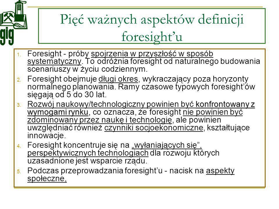 Pięć ważnych aspektów definicji foresightu 1. Foresight - próby spojrzenia w przyszłość w sposób systematyczny. To odróżnia foresight od naturalnego b