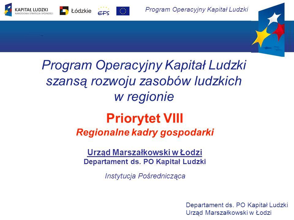 Program Operacyjny Kapitał Ludzki szansą rozwoju zasobów ludzkich w regionie Priorytet VIII Regionalne kadry gospodarki Urząd Marszałkowski w Łodzi De