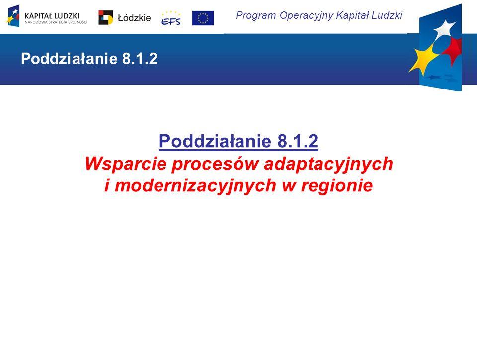 Program Operacyjny Kapitał Ludzki Poddziałanie 8.1.2 Wsparcie procesów adaptacyjnych i modernizacyjnych w regionie Poddziałanie 8.1.2