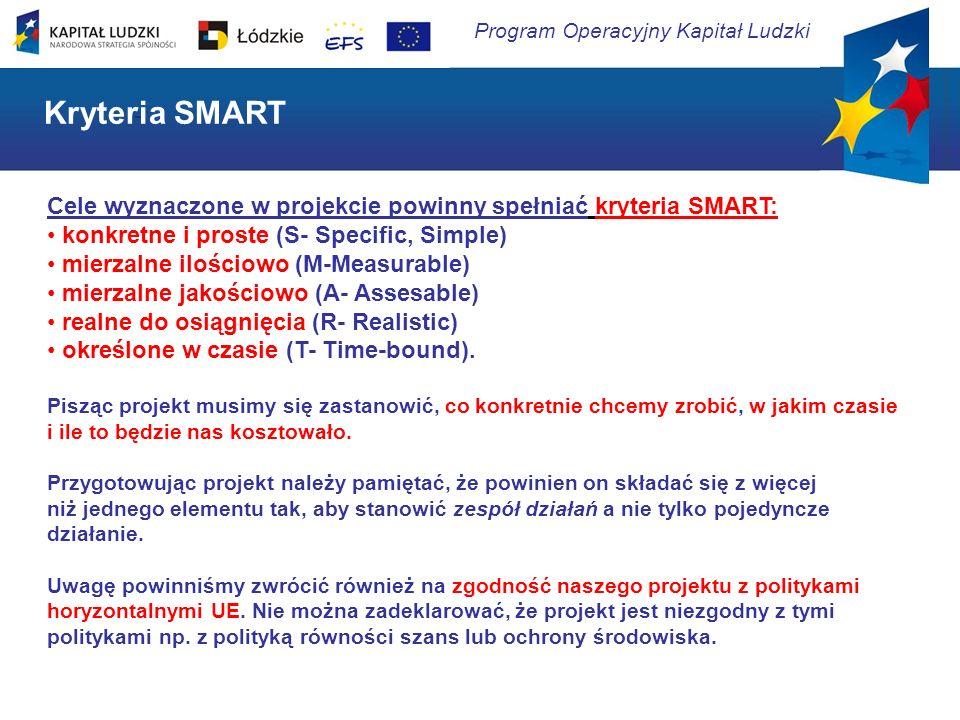 Program Operacyjny Kapitał Ludzki Cele wyznaczone w projekcie powinny spełniać kryteria SMART: konkretne i proste (S- Specific, Simple) mierzalne iloś