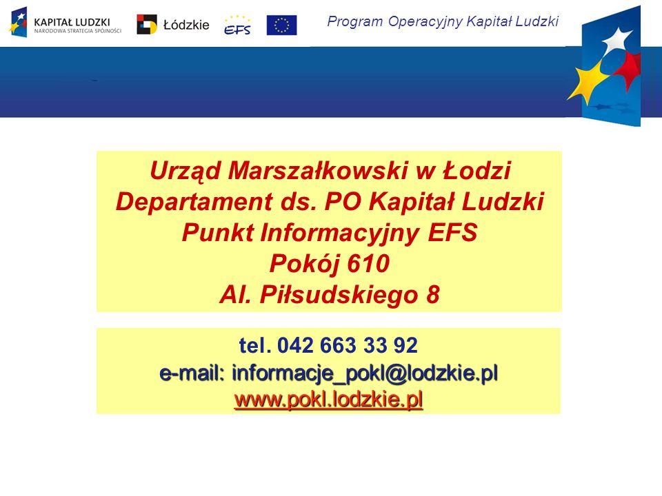 Program Operacyjny Kapitał Ludzki Urząd Marszałkowski w Łodzi Departament ds. PO Kapitał Ludzki Punkt Informacyjny EFS Pokój 610 Al. Piłsudskiego 8 te