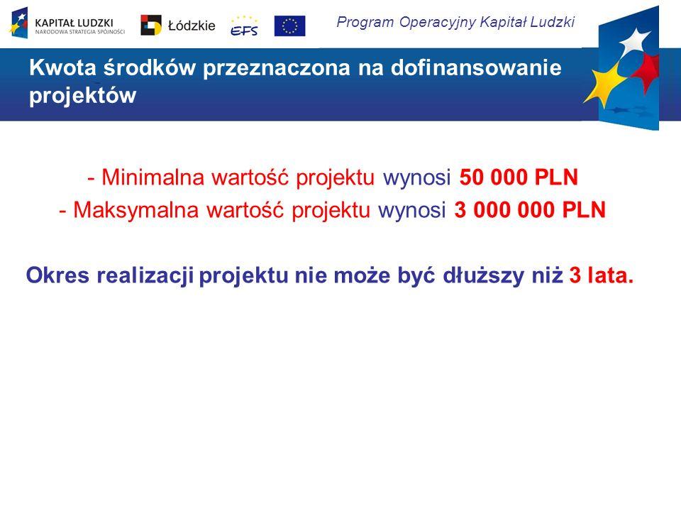 Kwota środków przeznaczona na dofinansowanie projektów - Minimalna wartość projektu wynosi 50 000 PLN - Maksymalna wartość projektu wynosi 3 000 000 P