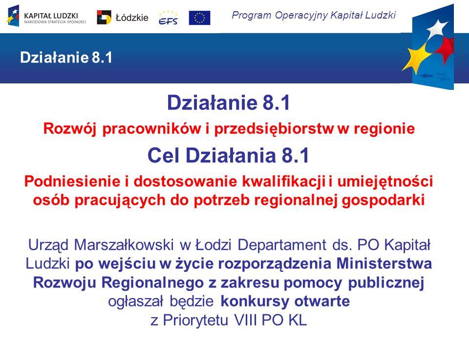 Program Operacyjny Kapitał Ludzki Działanie 8.1 Rozwój pracowników i przedsiębiorstw w regionie Cel Działania 8.1 Podniesienie i dostosowanie kwalifik