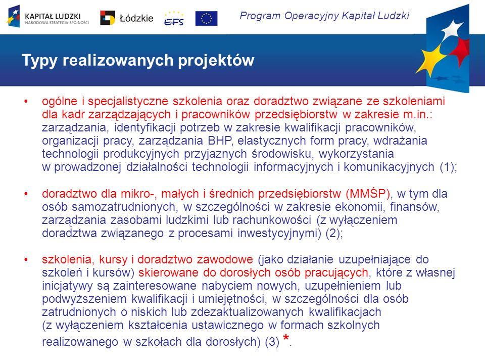 Program Operacyjny Kapitał Ludzki Działanie 8.2 Transfer wiedzy Cel Działania 8.2 Zwiększenie transferu wiedzy i wzmocnienie powiązań sfery B+R z przedsiębiorstwami, służące rozwojowi gospodarczemu regionów Urząd Marszałkowski w Łodzi Departament ds.