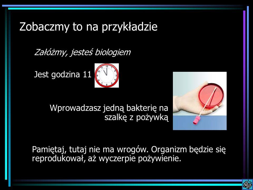Zobaczmy to na przykładzie Załóżmy, jesteś biologiem Jest godzina 11 Wprowadzasz jedną bakterię na szalkę z pożywką Pamiętaj, tutaj nie ma wrogów. Org