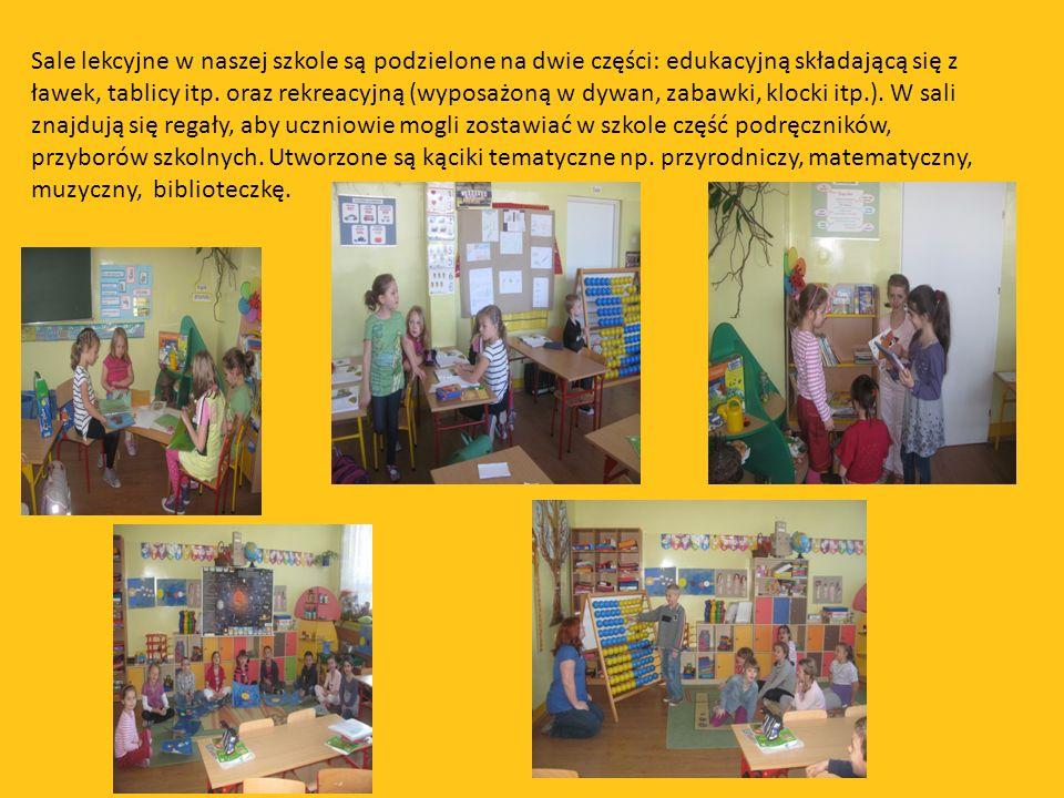 Sale lekcyjne w naszej szkole są podzielone na dwie części: edukacyjną składającą się z ławek, tablicy itp. oraz rekreacyjną (wyposażoną w dywan, zaba