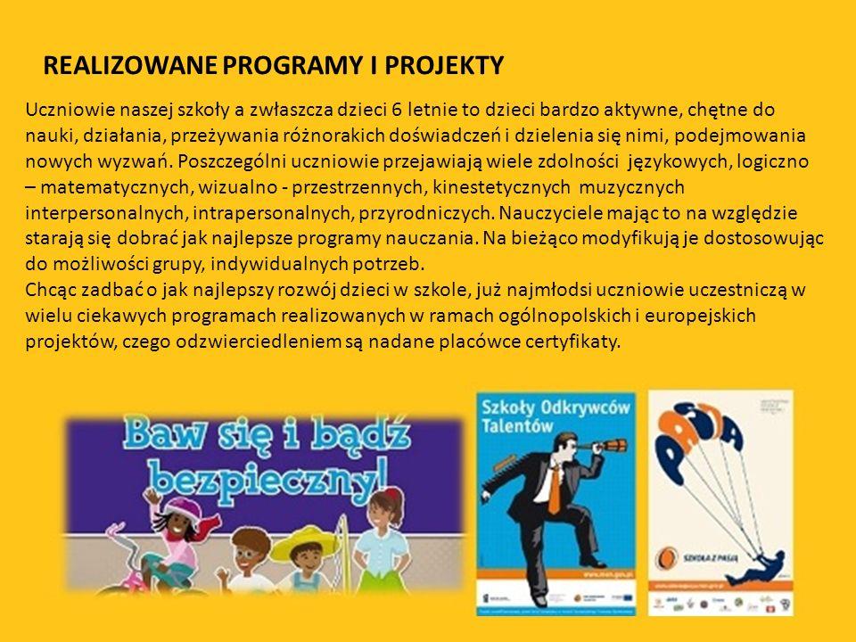 REALIZOWANE PROGRAMY I PROJEKTY Uczniowie naszej szkoły a zwłaszcza dzieci 6 letnie to dzieci bardzo aktywne, chętne do nauki, działania, przeżywania