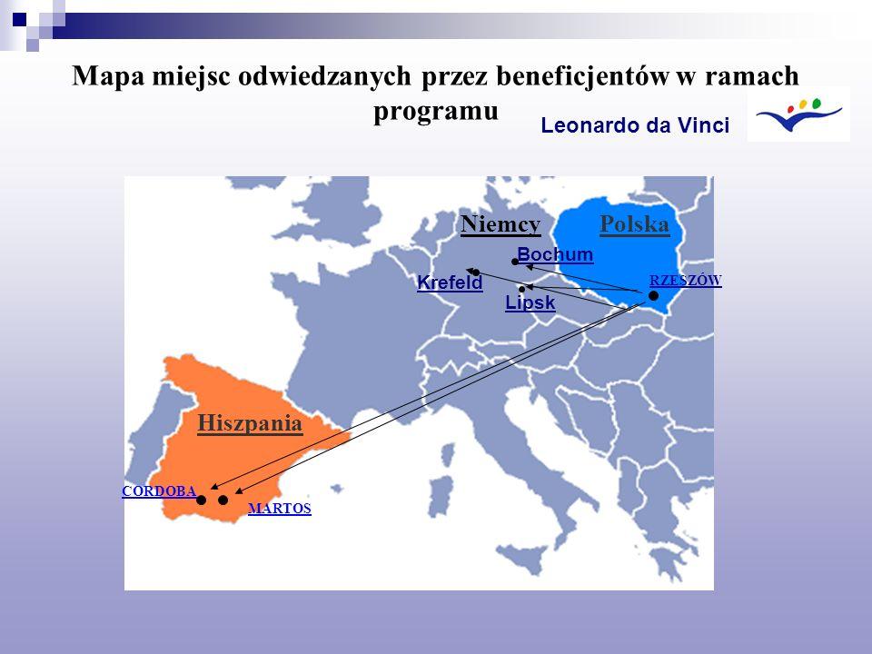Mapa miejsc odwiedzanych przez beneficjentów w ramach programu CORDOBA MARTOS RZESZÓW Leonardo da Vinci Hiszpania PolskaNiemcy Bochum Krefeld Lipsk
