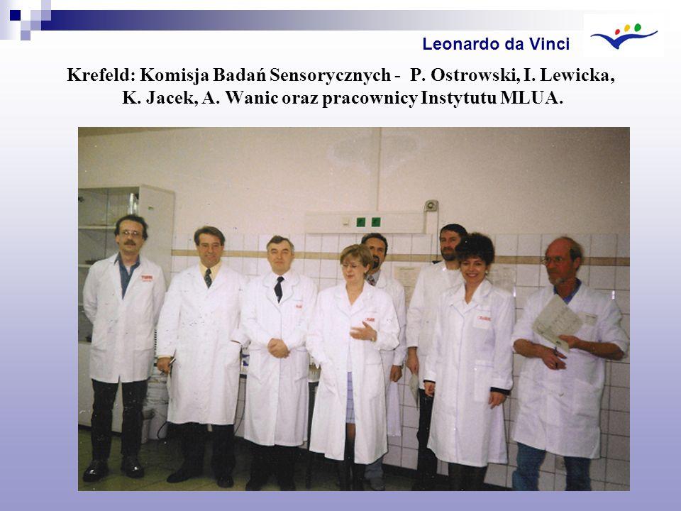 Krefeld: Komisja Badań Sensorycznych - P. Ostrowski, I. Lewicka, K. Jacek, A. Wanic oraz pracownicy Instytutu MLUA. Leonardo da Vinci