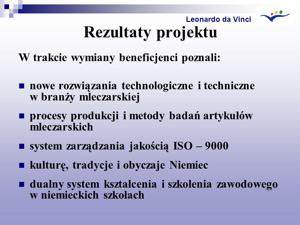 Rezultaty projektu W trakcie wymiany beneficjenci poznali: nowe rozwiązania technologiczne i techniczne w branży mleczarskiej procesy produkcji i meto