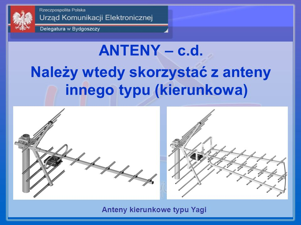 ANTENY – c.d. Należy wtedy skorzystać z anteny innego typu (kierunkowa) Anteny kierunkowe typu Yagi