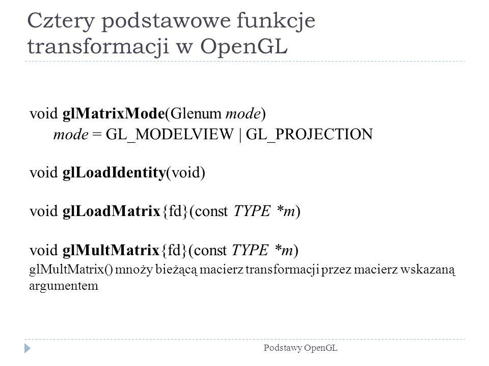 Cztery podstawowe funkcje transformacji w OpenGL Podstawy OpenGL void glMatrixMode(Glenum mode) mode = GL_MODELVIEW | GL_PROJECTION void glLoadIdentit