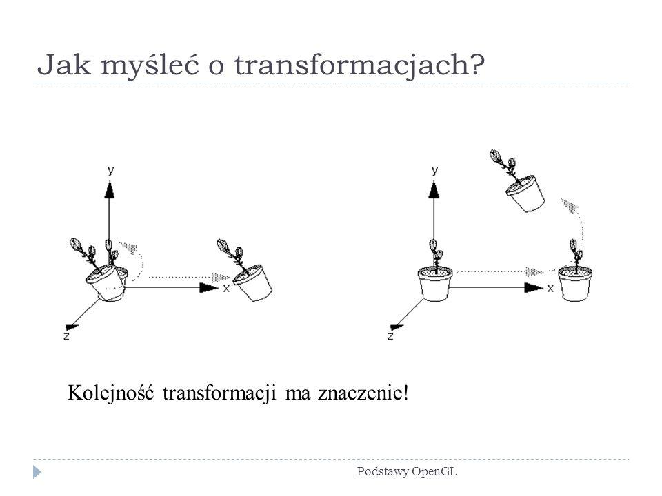 Jak myśleć o transformacjach? Podstawy OpenGL Kolejność transformacji ma znaczenie!